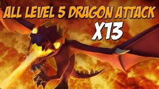 Epic All Level 5 Dragon Attack | 13 x Max Dragon Raids | Clash of Clans
