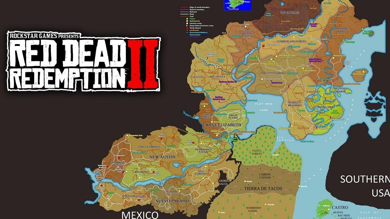 Mapa Red Dead Redemption.Red Dead Redemption 2 Mapa Confirmado De Rdr2