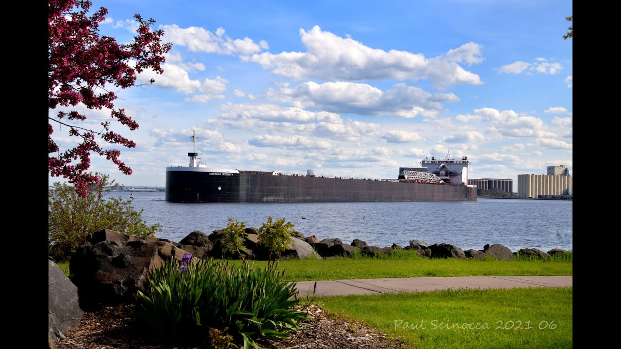 From the Harbor down on the water view of the American Integrity Departing Duluth June 01, 2021
