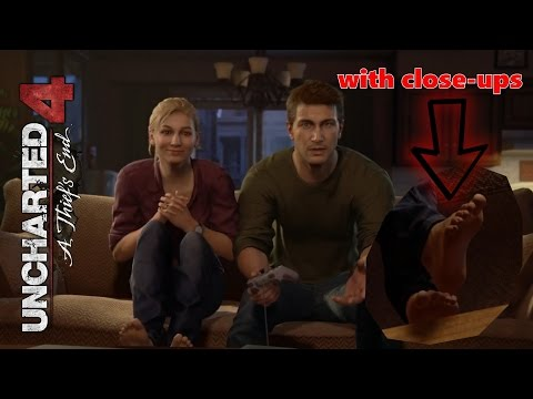 Uncharted 4: A Thief's end - A normal life - Elena Fisher barefoot scene with close-ups!