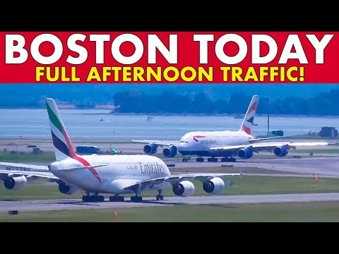 BOSTON TODAY #15: Full Afternoon Plane Spotting Traffic