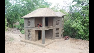 Building the most creative mud villa house by spend 21 days in forest .