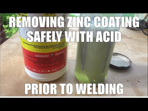 Removing zinc coating with acid from a plated metal for welding