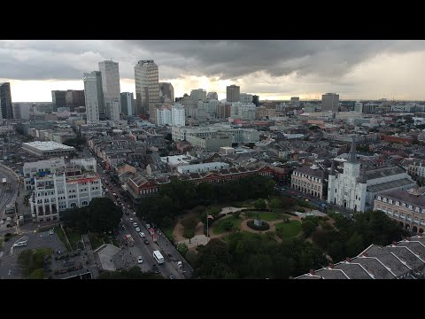 New Orleans, LA Aerial Tour: French Quarter, Cathedral, Bourbon St, Carnival Dream-DJI Spark Drone