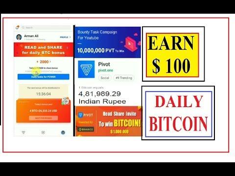 PIVOT APP -Earn Free Bitcoins | $100-200 Daily | Upto 4 Bitcoin Bonus per day