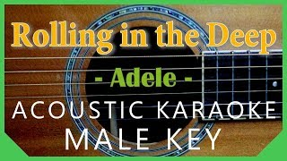 Rolling in the Deep - Adele [Acoustic Karaoke | Male Key ]