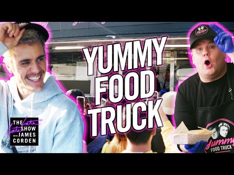 "Justin Bieber & James Corden&39;s ""Yummy"" Food Truck"