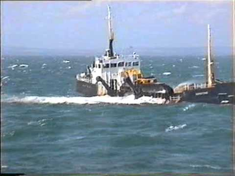 Dredger loading in rough seas in the English Channel