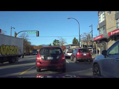 Vancouver CAR RIDE: KERRISDALE TO POINT GREY PARK SITE Along 41st Ave, Larch and on to Trafalgar St