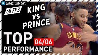 KING vs PRINCE! Ben Simmons vs LeBron James EPIC Duel Highlights (Cavaliers vs 76ers) | 2018.04.06