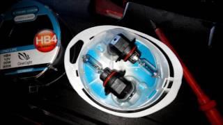 ★★★ БЛИЖНИЙ СВЕТ ФАР - Mitsubishi Lancer X (Замена лампочек на HB4 Clear Lignt +120% 12V 55W) ★★★