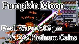 Terraria - Pumpkin Moon Final Wave at 8:06 pm, 255 Platinum Coins in a night (World Records)