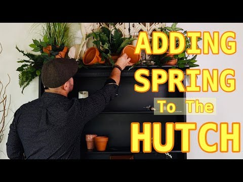 Decorating The Top Of The Hutch In The Dining Room For Spring / Makeover On A Budget