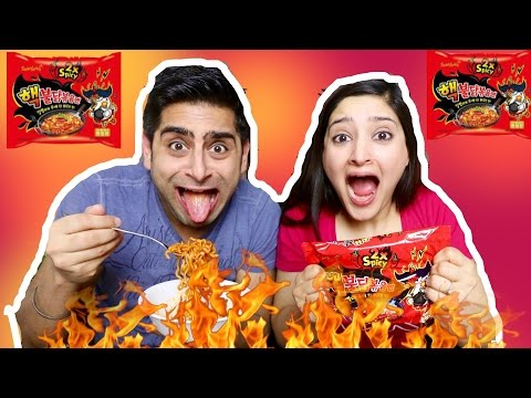 INDIANS TRY SPICY NUCLEAR FIRE NOODLE CHALLENGE | MUKBANG | WORLD'S HOTTEST NOODLES
