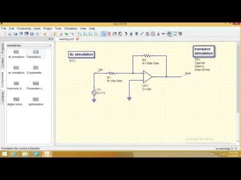 qucs programming : inverting amplifier response by positive feedback