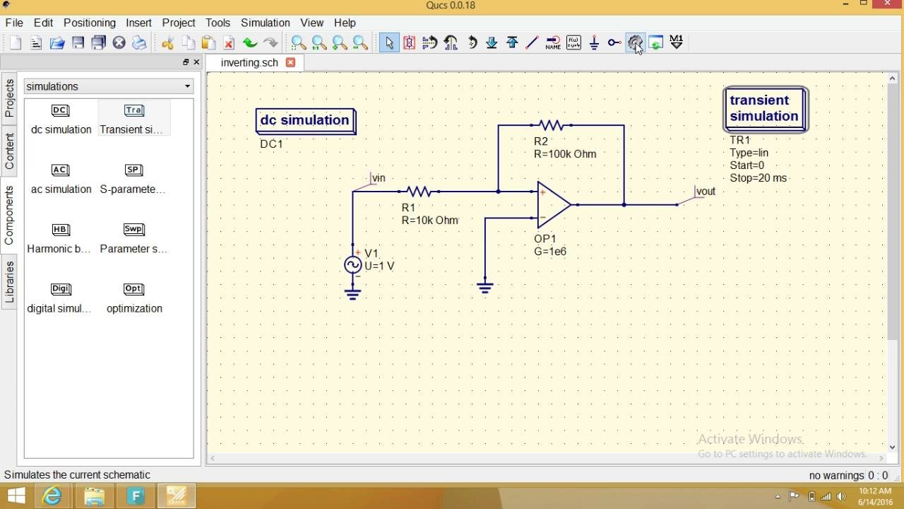 Qucs Programming Inverting Amplifier Response By Positive Feedback Asymmetrical Schmitt Trigger Electronics Tutorial