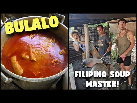 Eating FILIPINO SOUP Cooked By The Street   BULALO In Davao Philippines
