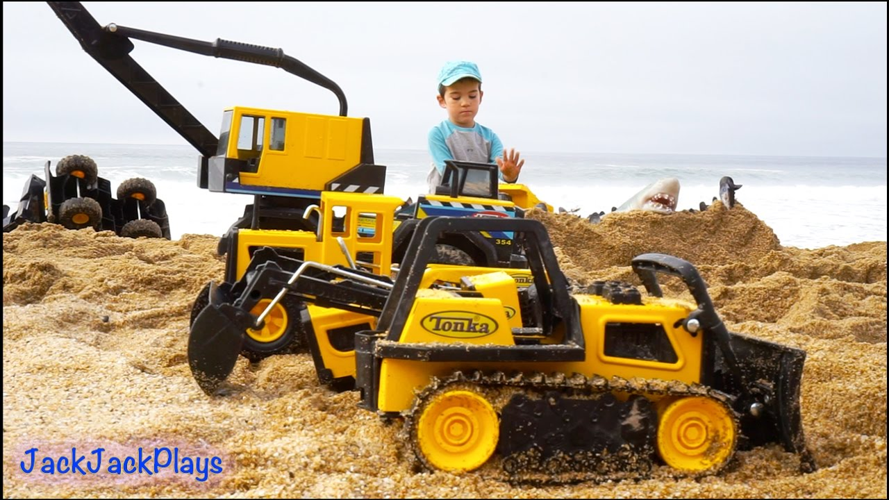 Construction Toys For Kids In Action At The Beach Big
