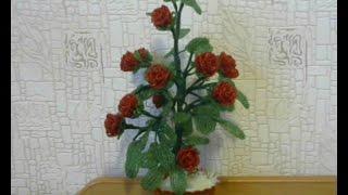Комнатная розочка из бисера.  Мастер-класс.(Для работы необходимо: - проволочка 0,3 мм -бисер красный, зеленый Изготовляется роза петельной и французско..., 2015-01-11T09:36:52.000Z)