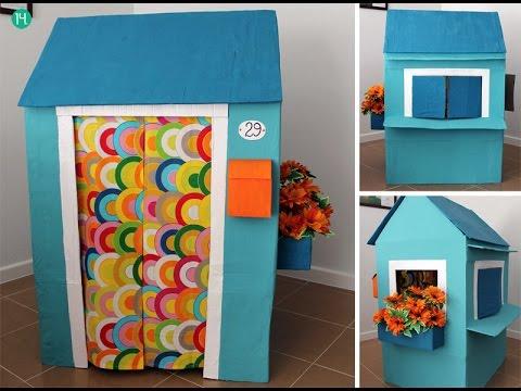 C mo hacer una casita con una caja de cart n youtube - Como hacer una casa de carton pequena ...
