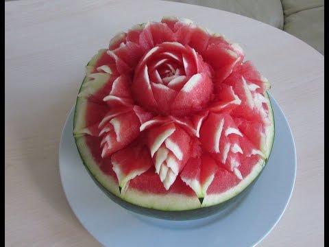 Hướng dẫn tỉa hoa từ Dưa hấu-Carving Art Watermelone -从西瓜修剪花草-雕刻藝術-Резьба Искусство