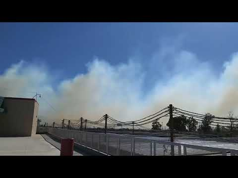 Fontana Fire North of 210 Freeway View From Etiwanda High School 10/24/2017