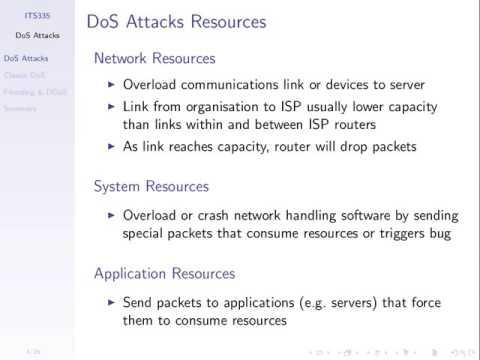 Denial of Service Attacks (ITS335, L12, Y15)