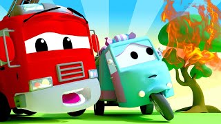 Police car for kids -  Carrie the CANDY CAR accidentally lit a tree on fire!  - Car City !