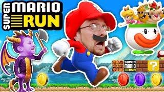 FGTEEV Mario plays SUPER MARIO RUN! Spyro Dragon Kills Bowser + Boom Boom Battle (iOS App Game #1)