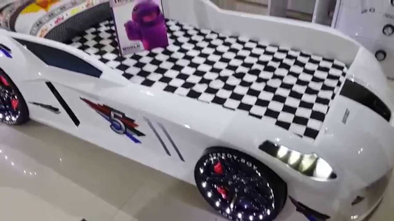 Cool Jaguar Race Car Bed white with LED lights sold in the USA - YouTube