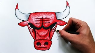 Como Desenhar a logo Chicago Bulls [NBA] - (How to Draw Chicago Bulls logo) - REMAKE #2