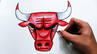 Como Desenhar a logo Chicago Bulls [NBA] - (How to Draw Chicago Bulls logo) - REMAKE #2