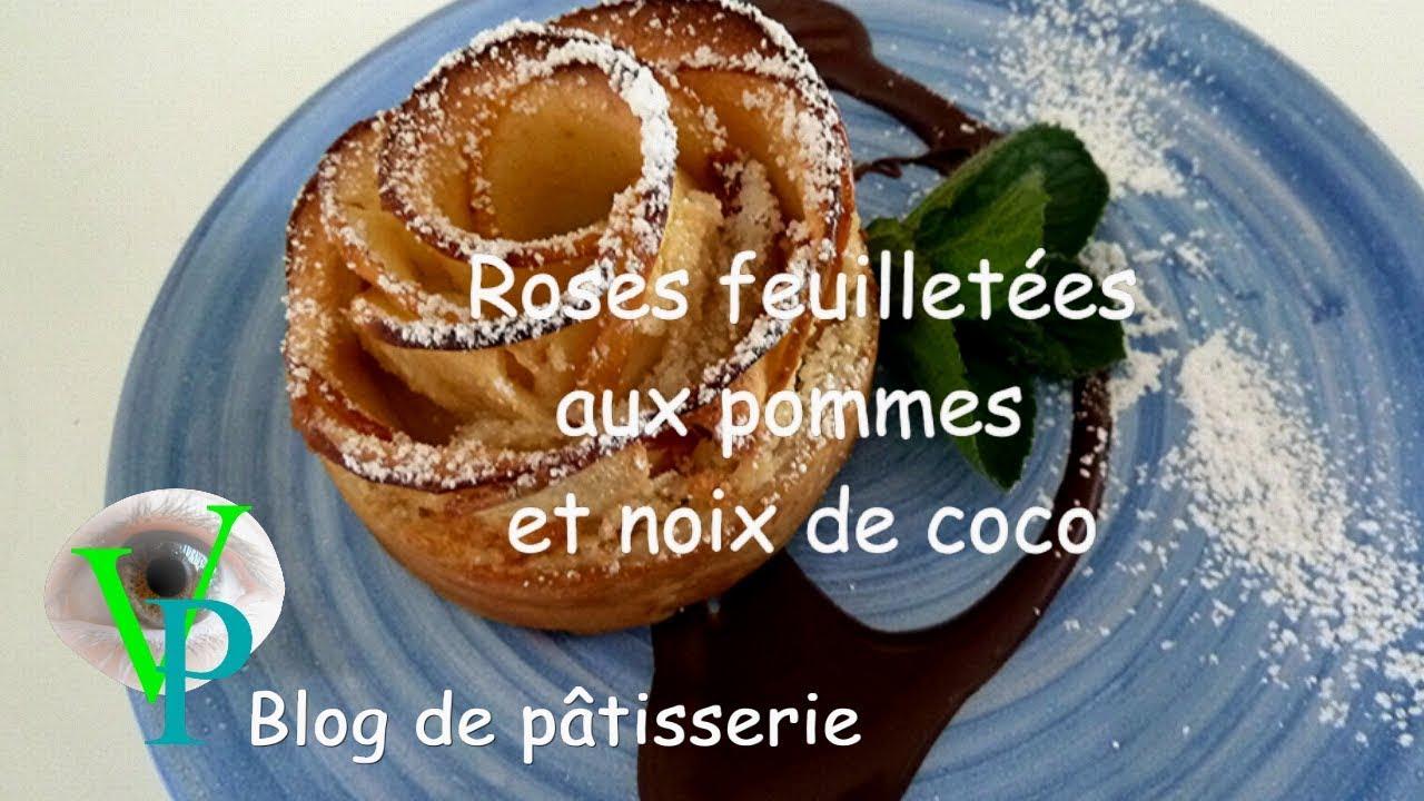 Roses en feuilletage et pommes, noix de coco