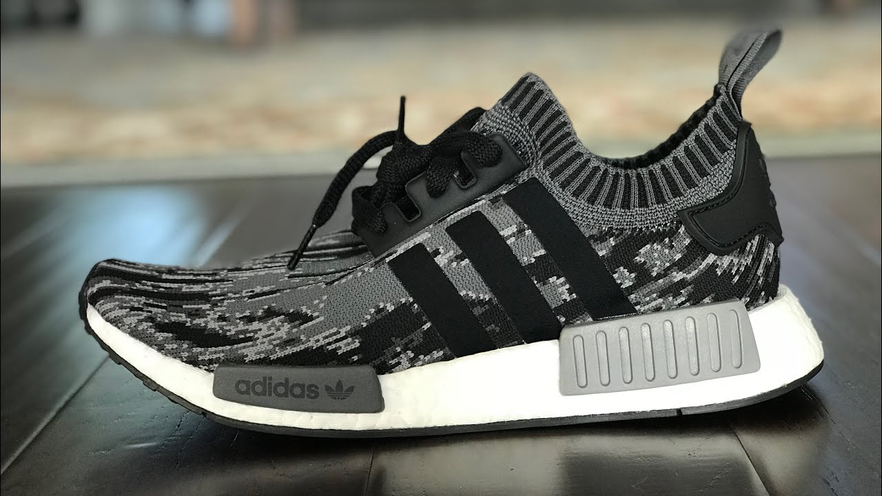the latest 1d2ec 26daf Unboxing Adidas NMD R1 PK glitch camo 'grey three'