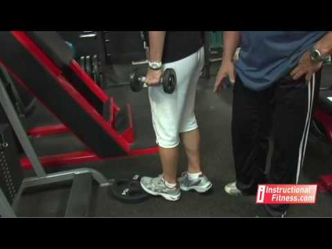 Instructional Fitness - One-legged Dumbbell Calf Raises