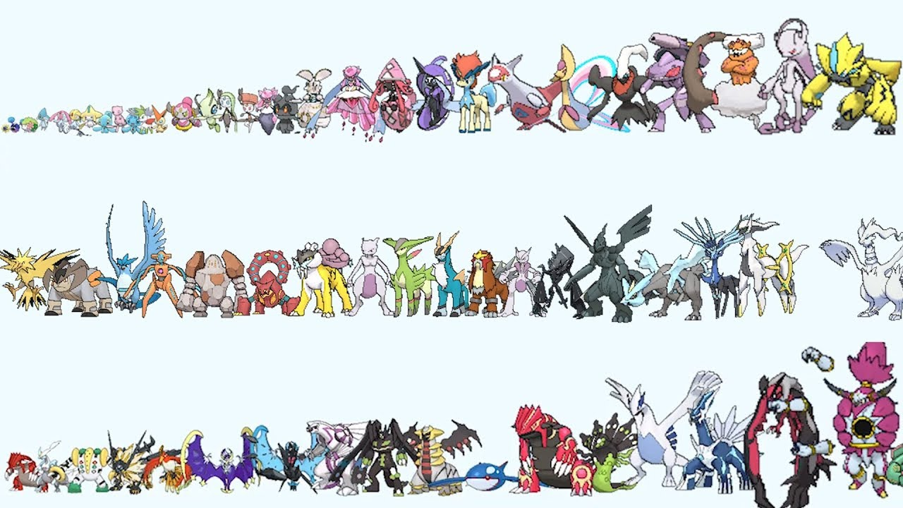 All Legendary & Mythical Pokemon From Smallest to Biggest - YouTube