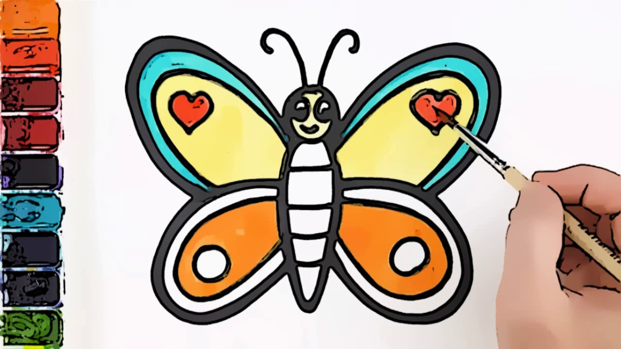 Boyama Ve Cizme Ile Renkleri Ogrenme Renkli Kelebek Colorful