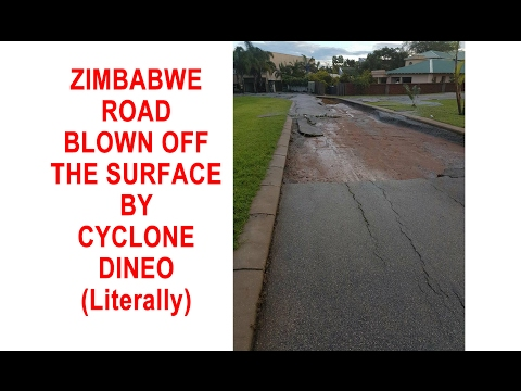 Zimbabwe Road blown off the surface by CYCLONE DINEO (literally)