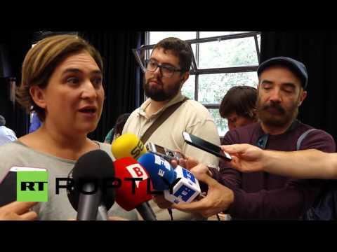 Spain: Barcelona's mayor Ada Colau casts vote in Catalan election