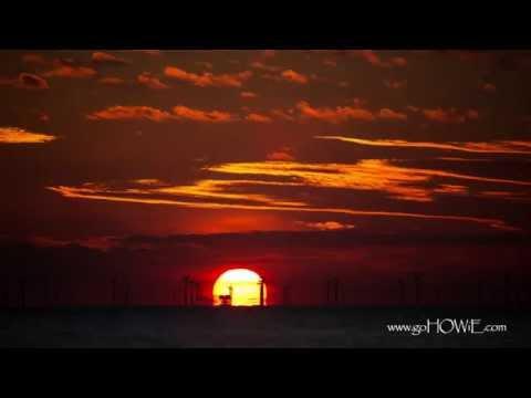 Sunrise over the Colwyn Bay wind farm