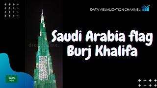 علم المملكة العربية السعودية على أعلى مبنى في العالم برج خليفة في اليوم الوطني - دبي 2020 🇸🇦