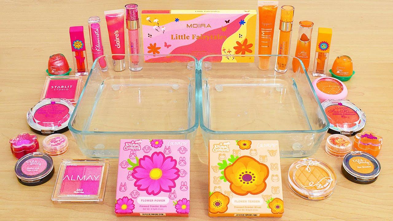 Pink vs Orange - Mixing Makeup Eyeshadow Into Slime ASMR