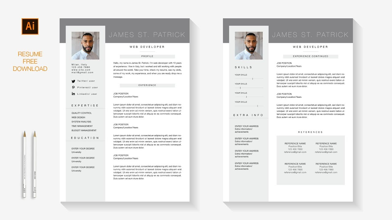 Professional Resume FREE 2 Pages Template download | Illustrator Speed art