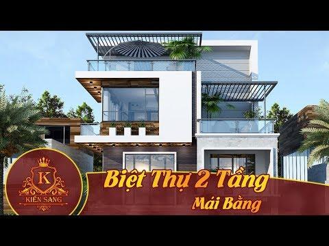 Bản vẽ mẫu thiết kế kiến trúc Biệt Thự 2 Tầng Mái Bằng đẹp  – Kiến Sang