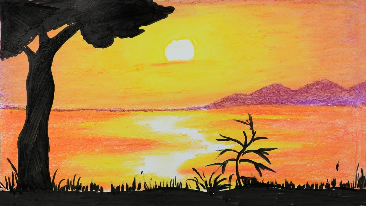 African Sunset: step by step drawing with oil pastel (very ...