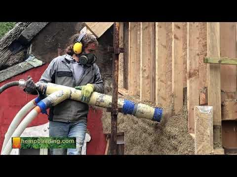 Spraying a Hempcrete Wall