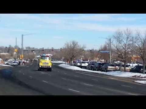 Police Car and Fire Truck Funeral Procession for fallen Jefferson County Officer - Colorado -