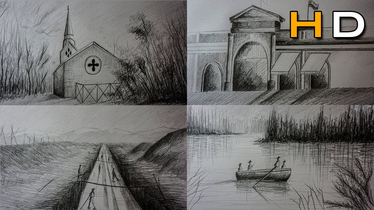 How to Draw 4 Landscape Sketches with Pencil Step by Step ...
