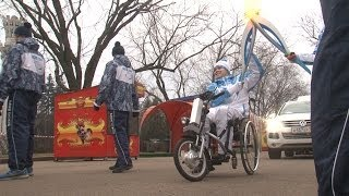 Paralympic Torch Lit by a Huge 'Heart' in Moscow