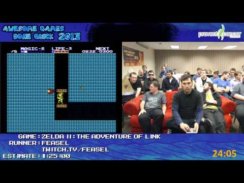 Zelda II: The Adventure of Link Speed Run in 1:12:05 by feasel *Live at AGDQ 2013* [NES]
